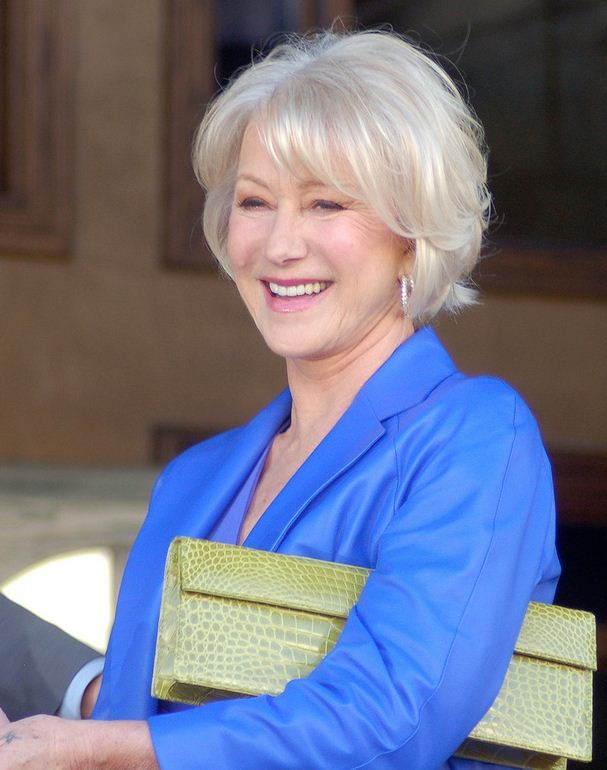 Helen Mirren Grey Hair Blue clothes