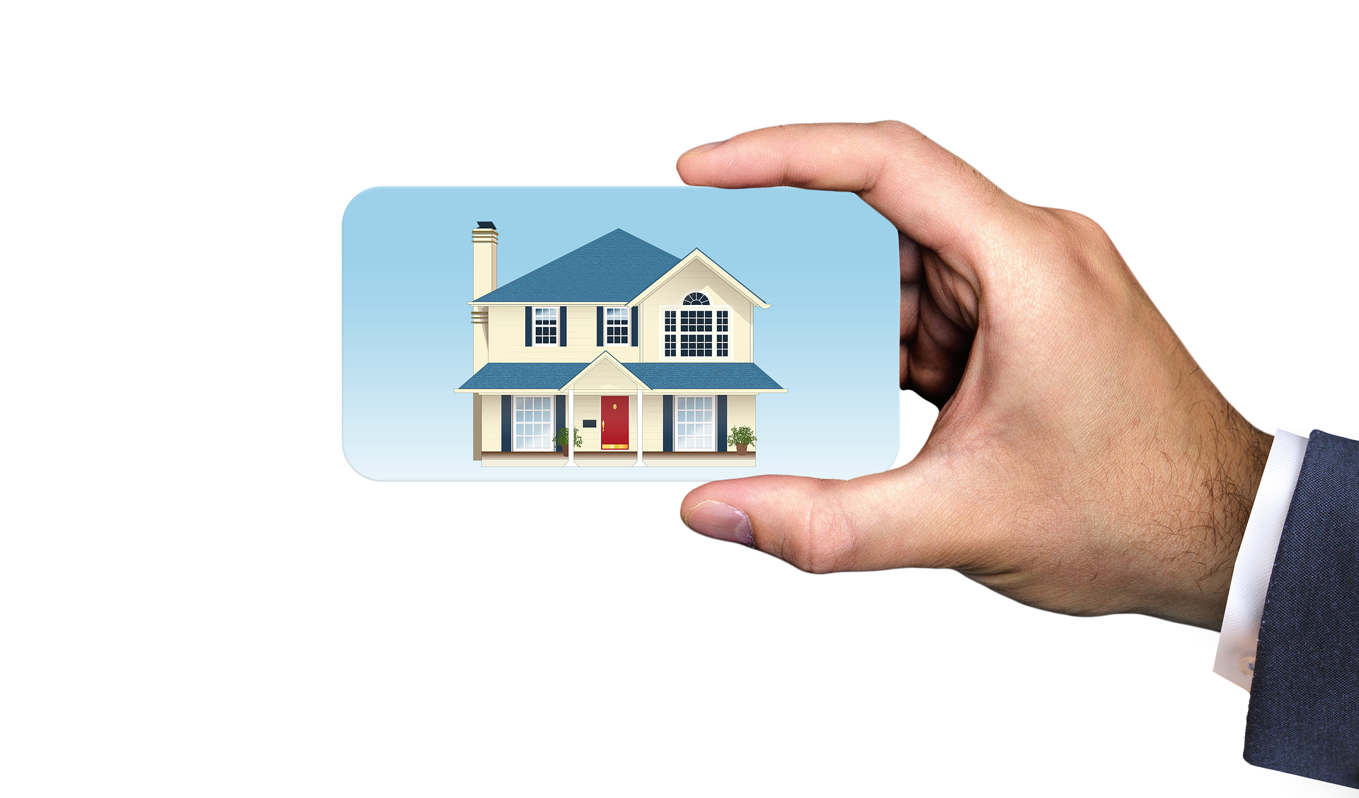 man holding mobile phone with image of house